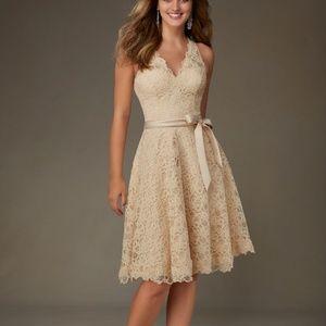 Mori Lee Lace Dress In Champagne #31075 Sz 12